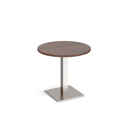 Brescia circular dining table with flat square brushed steel base 800mm - walnut