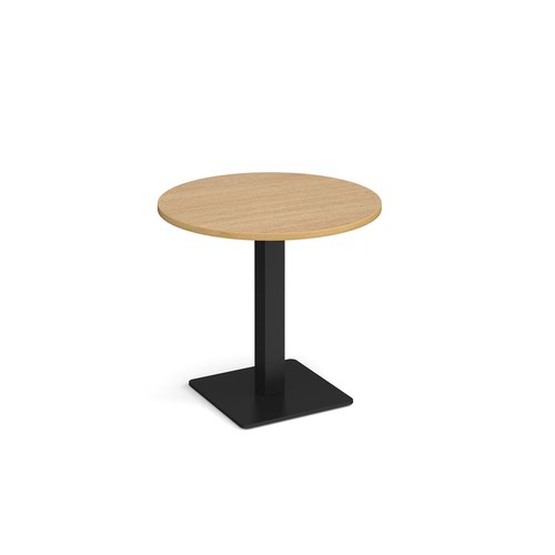 Brescia circular dining table with flat square black base 800mm - oak