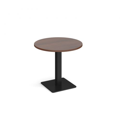 Brescia circular dining table with flat square black base 800mm - walnut