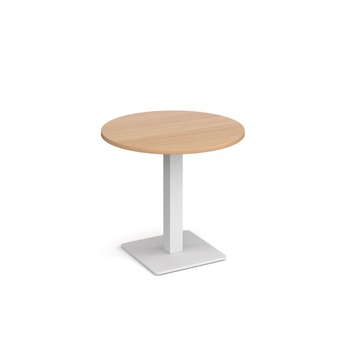 Brescia circular dining table with flat square white base 800mm - beech