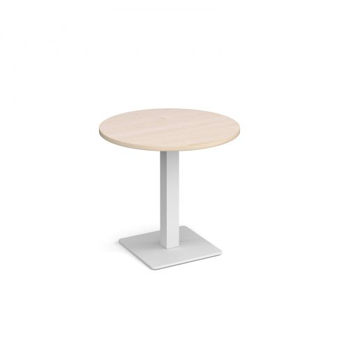Brescia circular dining table with flat square white base 800mm - maple