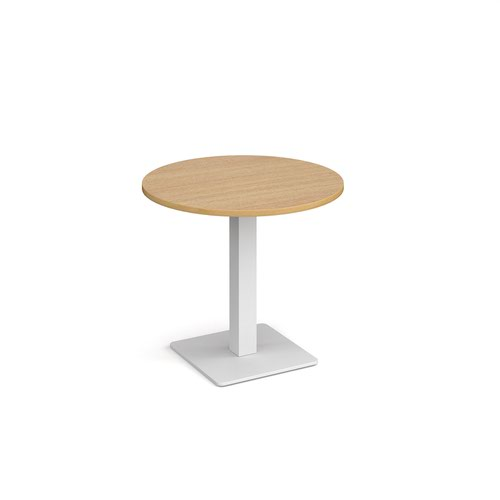Brescia circular dining table with flat square white base 800mm - oak