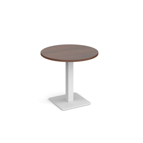 Brescia circular dining table with flat square white base 800mm - walnut