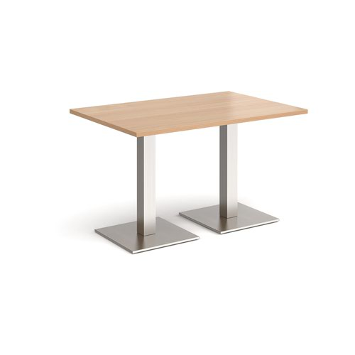 Brescia rectangular dining table with flat square brushed steel bases 1200mm x 800mm - beech