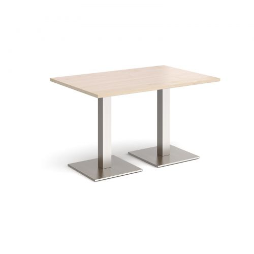Brescia rectangular dining table with flat square brushed steel bases 1200mm x 800mm - maple