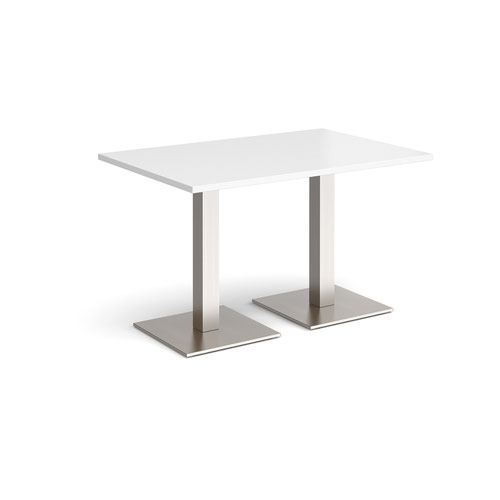 Brescia rectangular dining table with flat square brushed steel bases 1200mm x 800mm - white