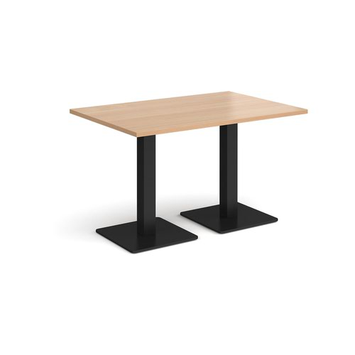 Brescia rectangular dining table with flat square black bases 1200mm x 800mm - beech