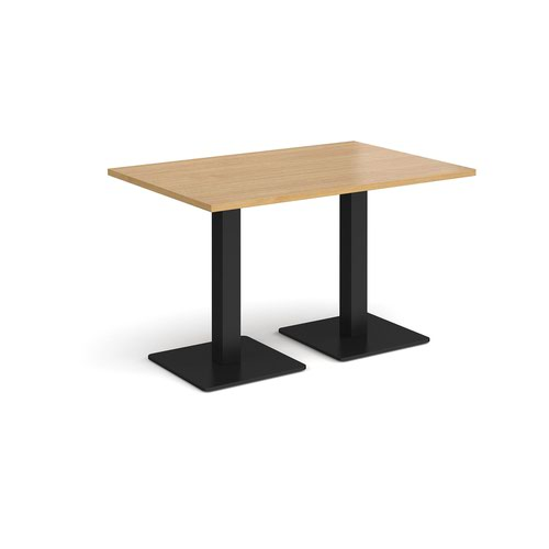 Brescia rectangular dining table with flat square black bases 1200mm x 800mm - oak