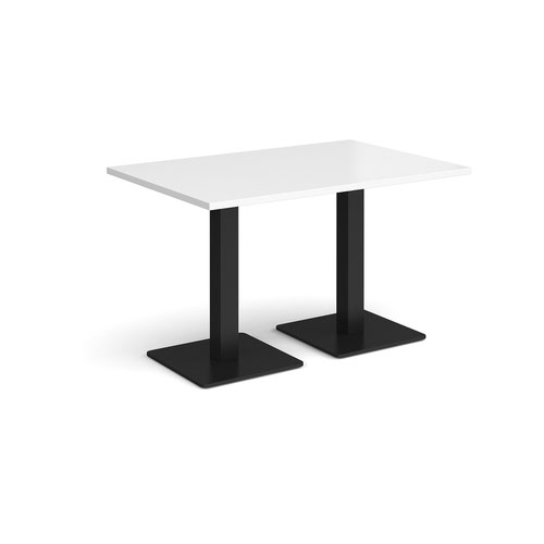 Brescia rectangular dining table with flat square black bases 1200mm x 800mm - white