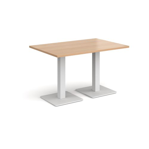 Brescia rectangular dining table with flat square white bases 1200mm x 800mm - beech