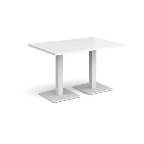 Brescia rectangular dining table with flat square white bases 1200mm x 800mm - white