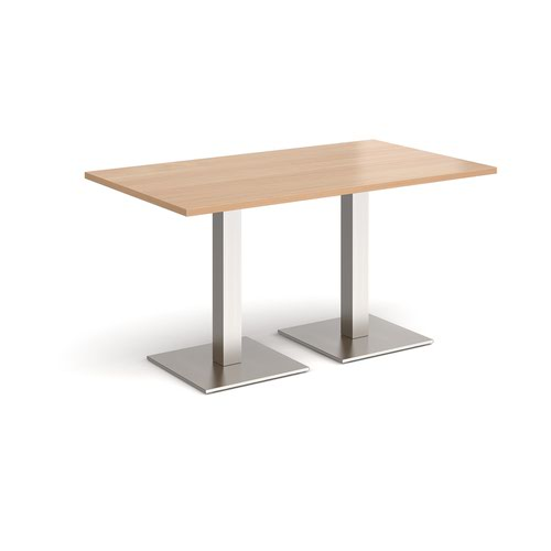Brescia rectangular dining table with flat square brushed steel bases 1400mm x 800mm - beech