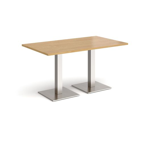 Brescia rectangular dining table with flat square brushed steel bases 1400mm x 800mm - oak