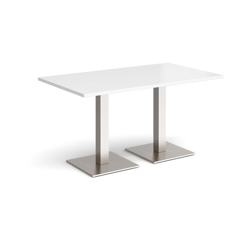 Brescia rectangular dining table with flat square brushed steel bases 1400mm x 800mm - white