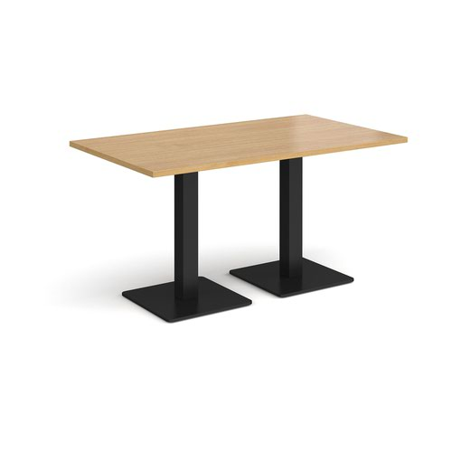 Brescia rectangular dining table with flat square black bases 1400mm x 800mm - oak