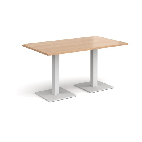 Brescia rectangular dining table with flat square white bases 1400mm x 800mm - beech