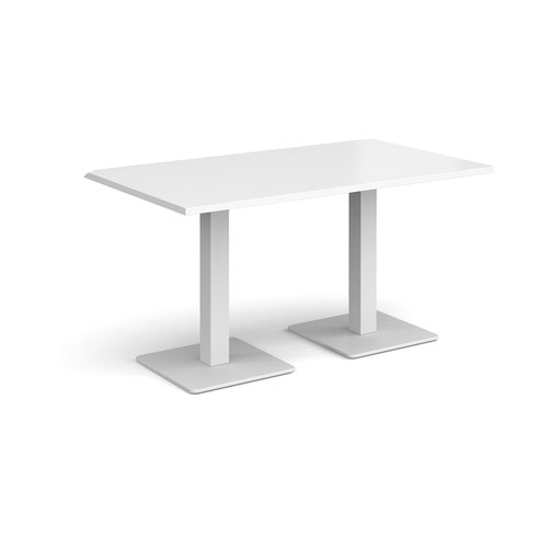 Brescia rectangular dining table with flat square white bases 1400mm x 800mm - white