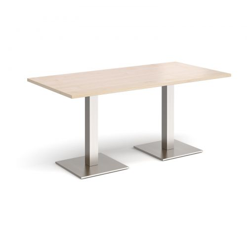 Brescia rectangular dining table with flat square brushed steel bases 1600mm x 800mm - maple
