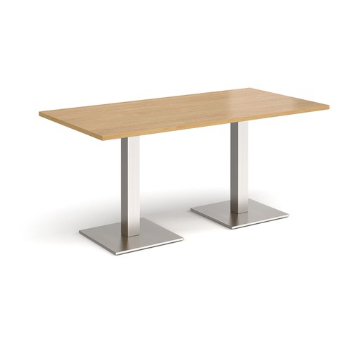 Brescia rectangular dining table with flat square brushed steel bases 1600mm x 800mm - oak