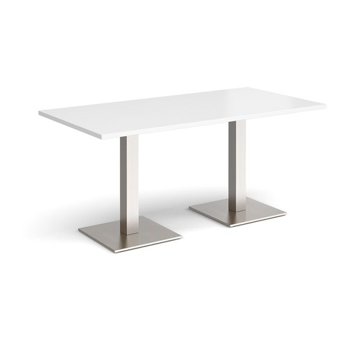 Brescia rectangular dining table with flat square brushed steel bases 1600mm x 800mm - white