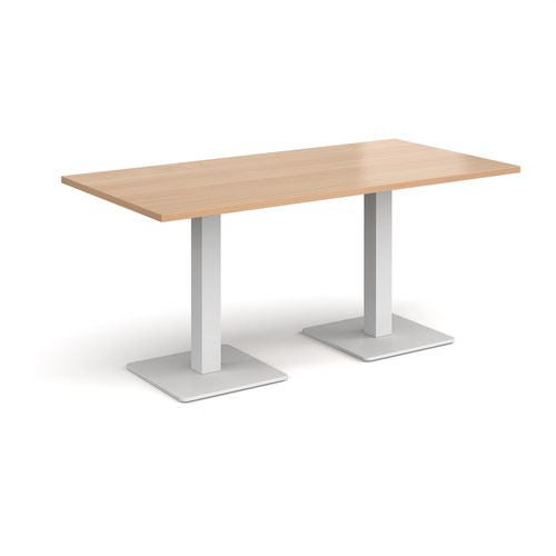 Brescia rectangular dining table with flat square white bases 1600mm x 800mm - beech