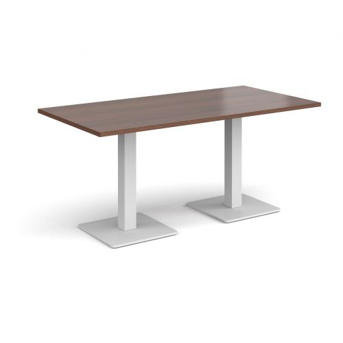 Brescia rectangular dining table with flat square white bases 1600mm x 800mm - walnut