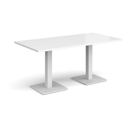Brescia rectangular dining table with flat square white bases 1600mm x 800mm - white