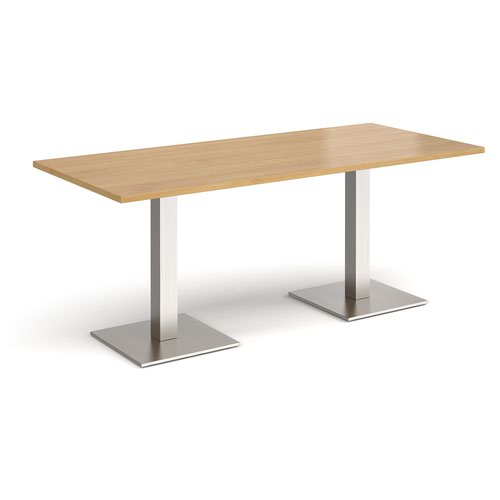 Brescia rectangular dining table with flat square brushed steel bases 1800mm x 800mm - oak