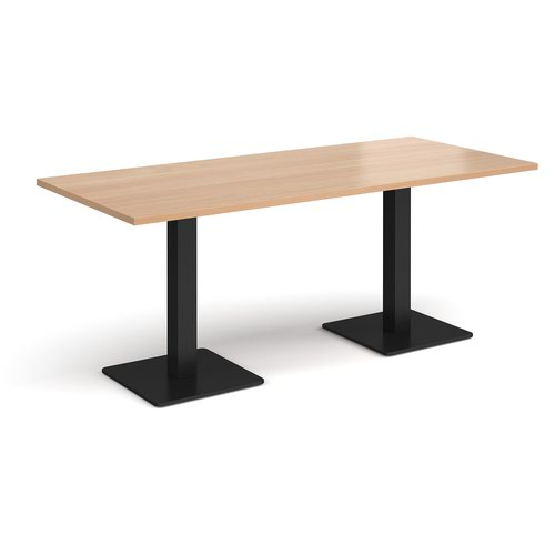 Brescia rectangular dining table with flat square black bases 1800mm x 800mm - beech