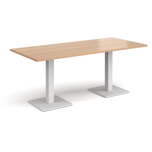 Brescia rectangular dining table with flat square white bases 1800mm x 800mm - beech