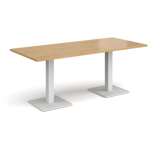 Brescia rectangular dining table with flat square white bases 1800mm x 800mm - oak