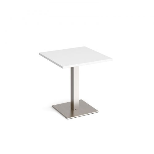 Brescia square dining table with flat square brushed steel base 700mm - white