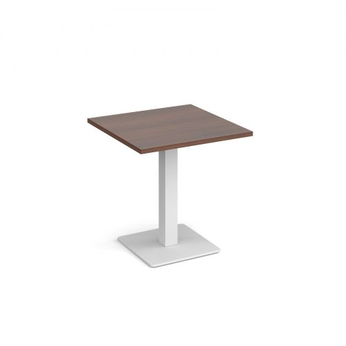 Brescia square dining table with flat square white base 700mm - walnut