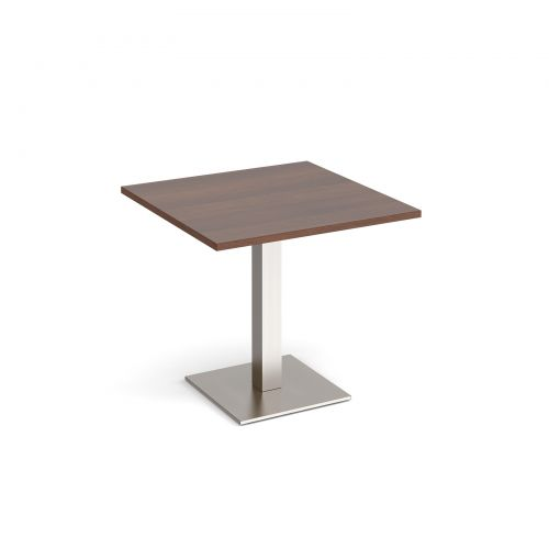 Brescia square dining table with flat square brushed steel base 800mm - walnut
