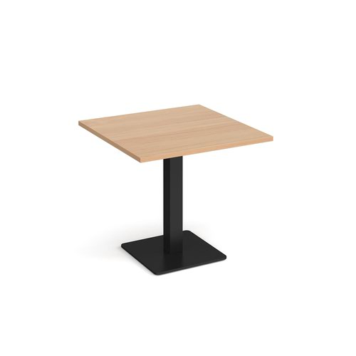 Brescia square dining table with flat square black base 800mm - beech