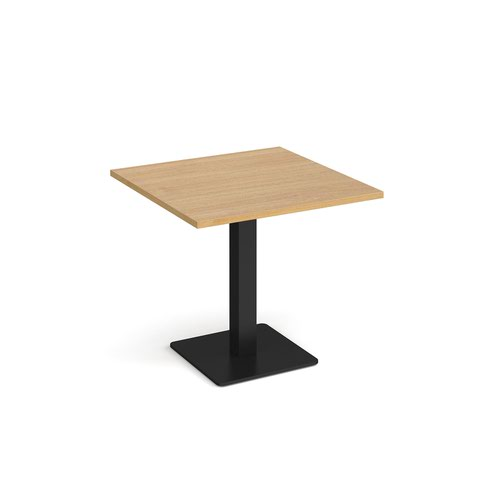 Brescia square dining table with flat square black base 800mm - oak