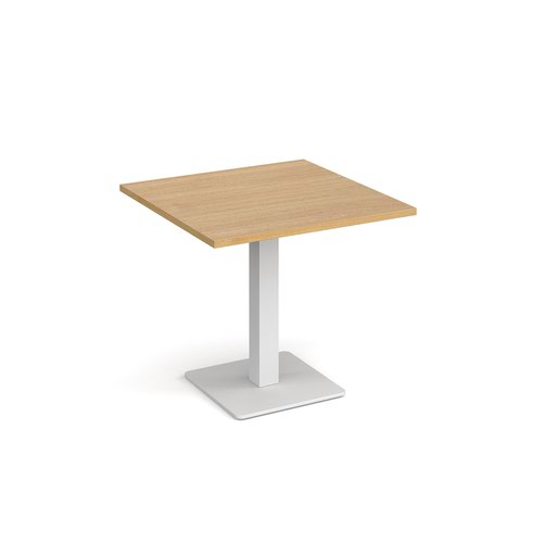 Brescia square dining table with flat square white base 800mm - oak