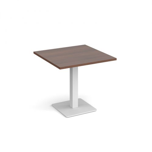 Brescia square dining table with flat square white base 800mm - walnut