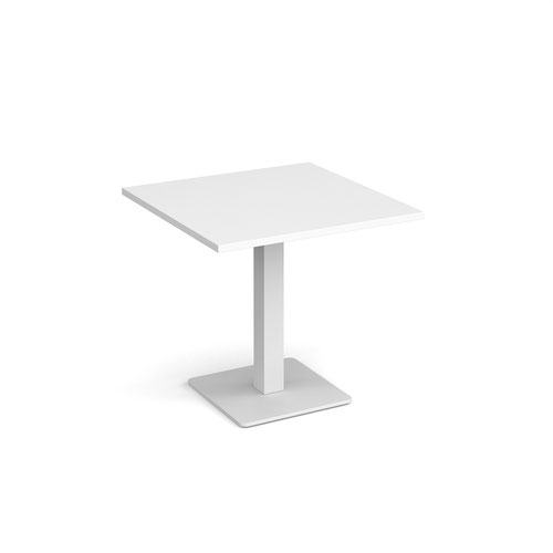 Brescia square dining table with flat square white base 800mm - white