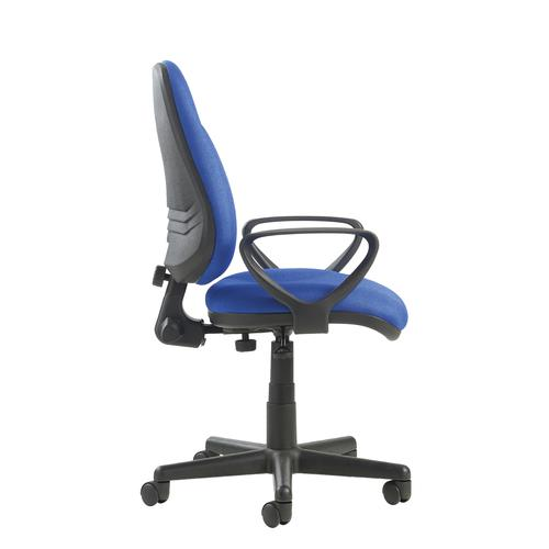 Bilbao fabric operators chair with lumbar support and fixed arms - blue Office Chairs BIL308B1-L-B