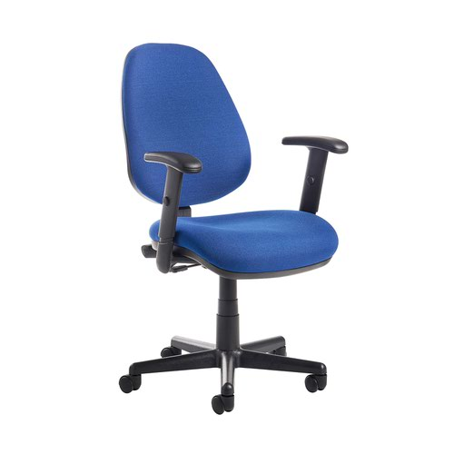 Bilbao fabric operators chair with adjustable arms - blue