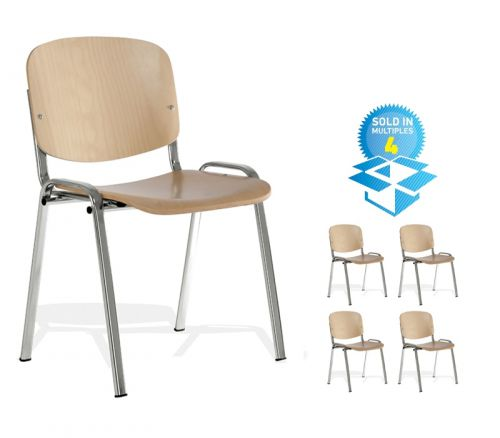 Taurus wooden meeting room stackable chair (box of 4) with no arms - beech with chrome frame
