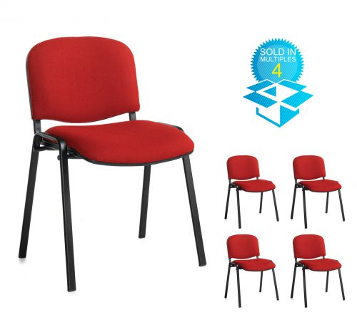 Taurus meeting room stackable chair (box of 4) with black frame and no arms - burgundy