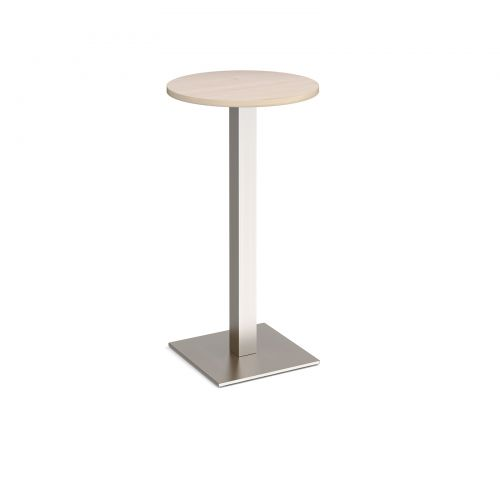 Brescia circular poseur table with flat square brushed steel base 600mm - maple