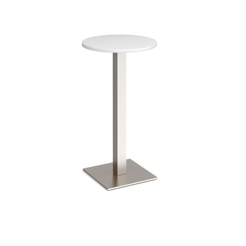 Brescia circular poseur table with flat square brushed steel base 600mm - white