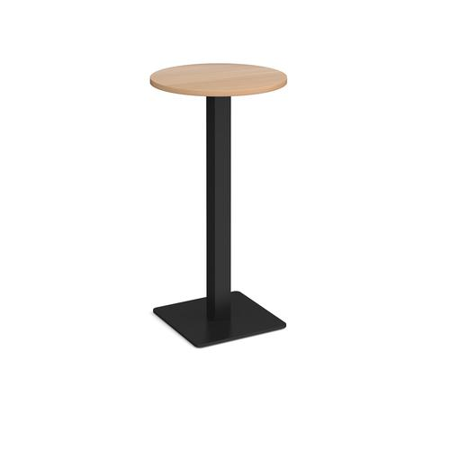 Brescia circular poseur table with flat square black base 600mm - beech