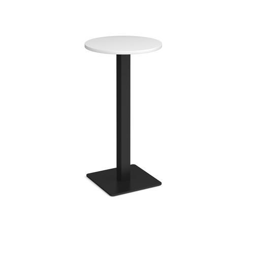 Brescia circular poseur table with flat square black base 600mm - white