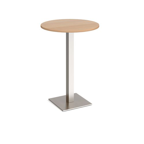 Brescia circular poseur table with flat square brushed steel base 800mm - beech