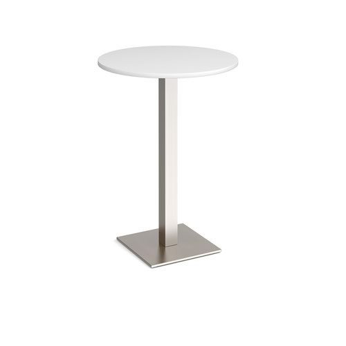 Brescia circular poseur table with flat square brushed steel base 800mm - white