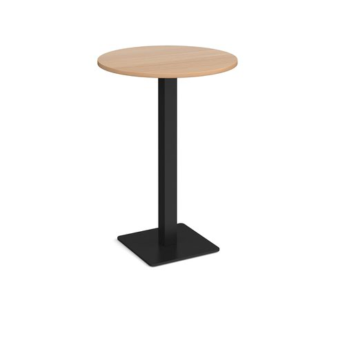 Brescia circular poseur table with flat square black base 800mm - beech